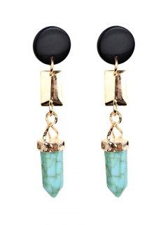 Geometric Artifical Turquoise Dangle Earrings - Light Green