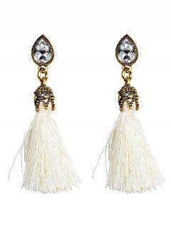 Rhinestone Tassel Water Drop Earrings - White