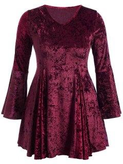 Bell Sleeve V Neck Fit And Flare Velvet Dress - Burgundy 2xl
