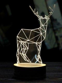 Merry Christmas Deer 3D LED Night Light - White