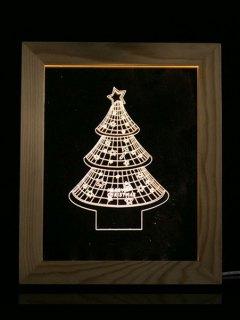 Christmas Tree Photo Frame LED Night Light - Transparent