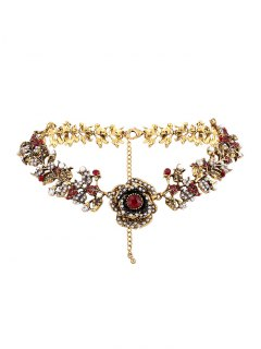 Rhinestone Artificial Pearl Rose Floral Necklace - Golden