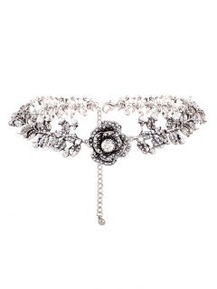 Rhinestone Artificial Pearl Rose Floral Necklace - Silver