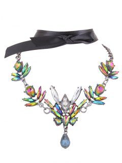Artificial Gem Necklace With Ribbon Choker - Green