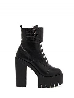Buckle Straps High Heel Boots - Black 38