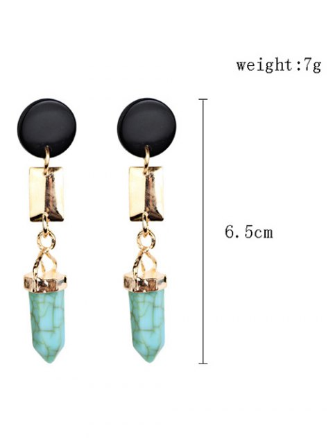 outfit Geometric Artifical Turquoise Dangle Earrings - LIGHT GREEN  Mobile
