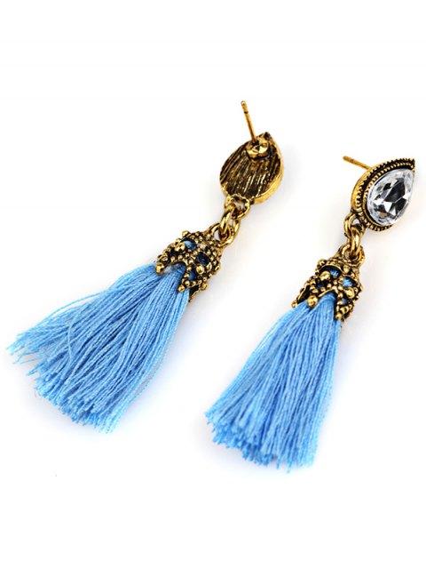 shop Rhinestone Tassel Water Drop Earrings - BLUE  Mobile