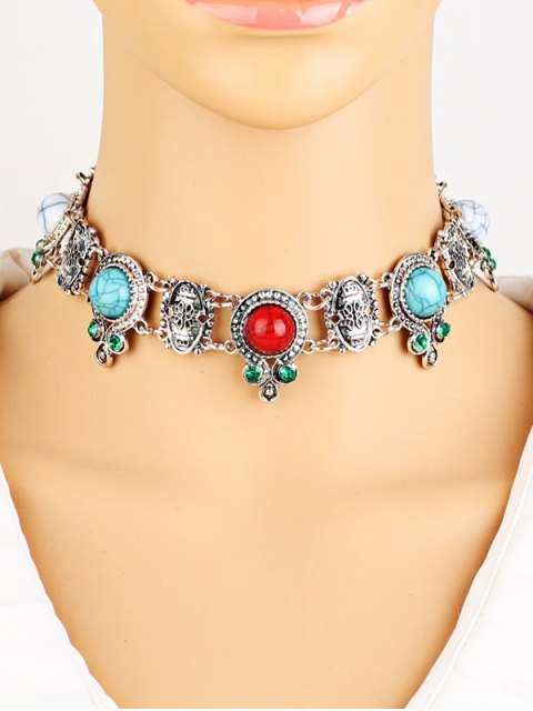 shop Rhinestone Faux Turquoise Necklace - SILVER  Mobile