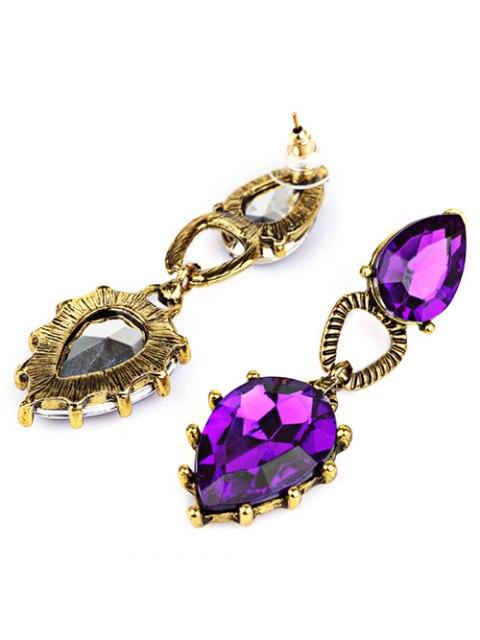 trendy Faux Gem Water Drop Earrings -   Mobile