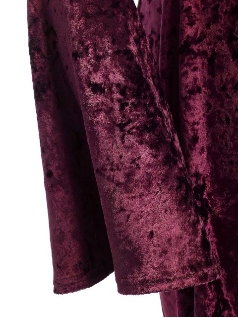outfits Bell Sleeve V Neck Fit and Flare Velvet Dress - BURGUNDY 3XL Mobile