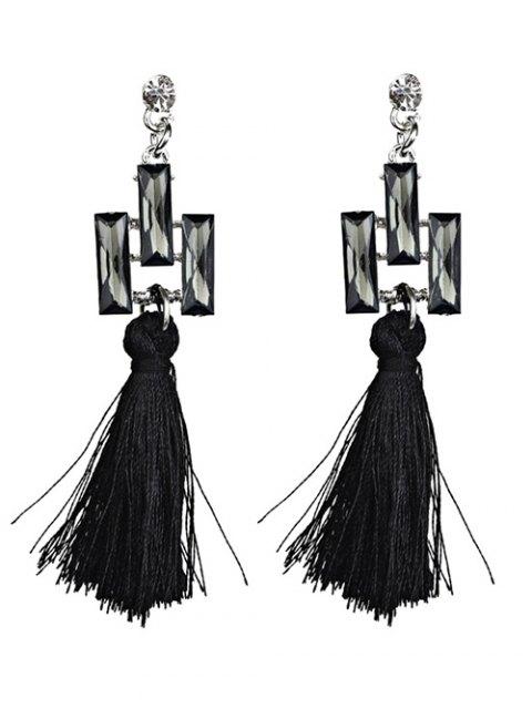 fashion Tassel Faux Crystal Dangle Earrings - BLACK  Mobile