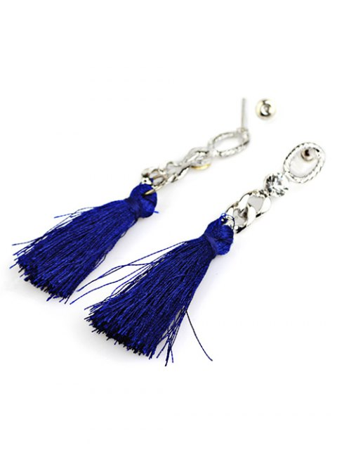 unique Rhinestone Tassel Dangle Earrings - BLUE  Mobile