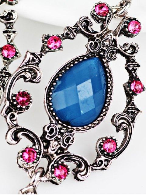 sale Rhinestone Water Drop Hollowed Earrings - BLUE  Mobile