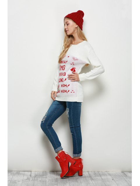 outfits Crew Neck Pullover Christmas Sweater - WHITE XL Mobile