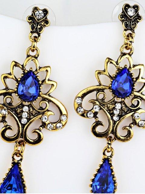 buy Water Drop Fake Gem Openwork Earrings - BLUE  Mobile