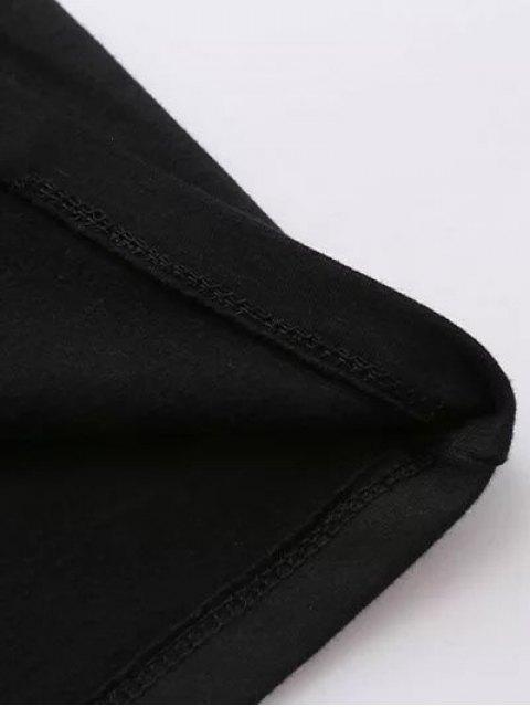 fashion Long Sleeve Oversized Graphic Tee - BLACK M Mobile