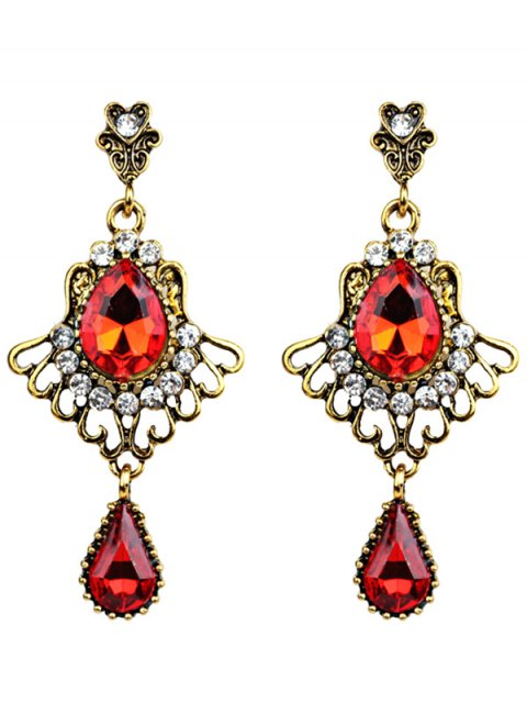 women Scallop Water Drop Faux Crystal Earrings - GOLDEN  Mobile