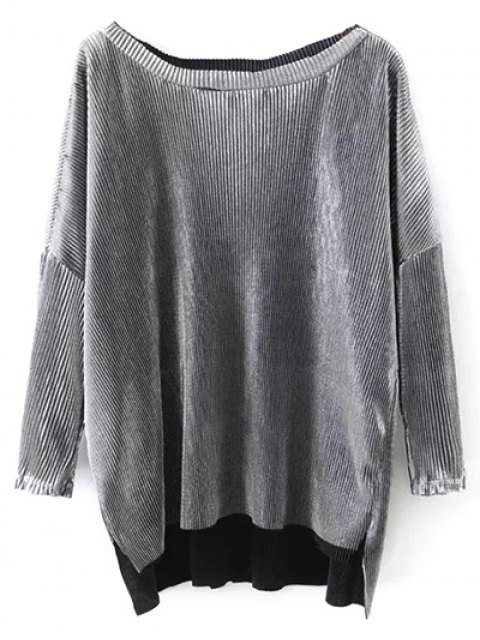 ladies Metallic Color Dropped Shoulder Top - SILVER S Mobile
