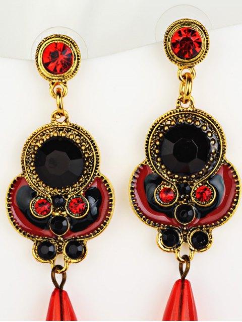 ladies Rhinestone Faux Gem Bead Drop Earrings - RED  Mobile