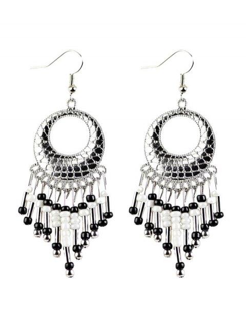 lady Beads Tassel Snakeskin Circle Drop Earrings - BLACK  Mobile