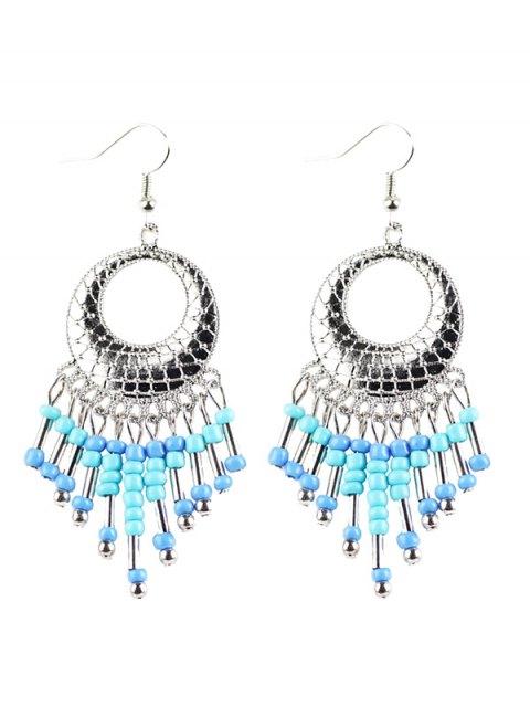 online Beads Tassel Snakeskin Circle Drop Earrings - BLUE  Mobile