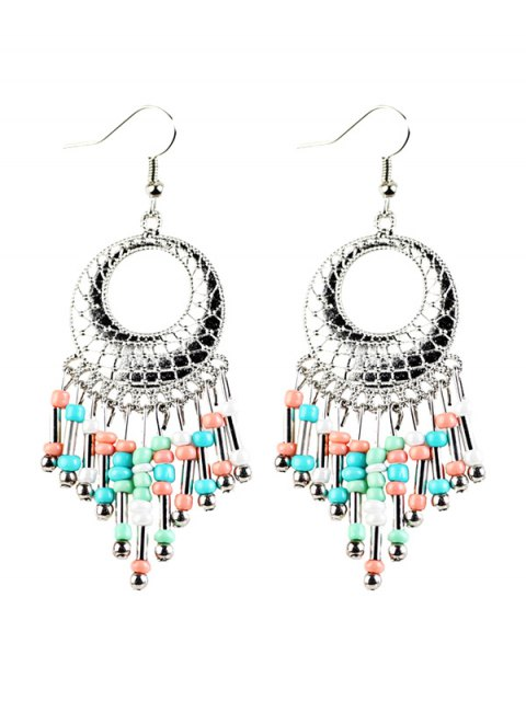 new Beads Tassel Snakeskin Circle Drop Earrings - COLORFUL  Mobile