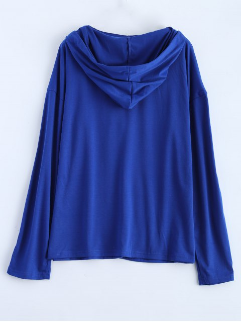 women's Long Sleeve Lace Up Hooded T Shirt - BLUE S Mobile