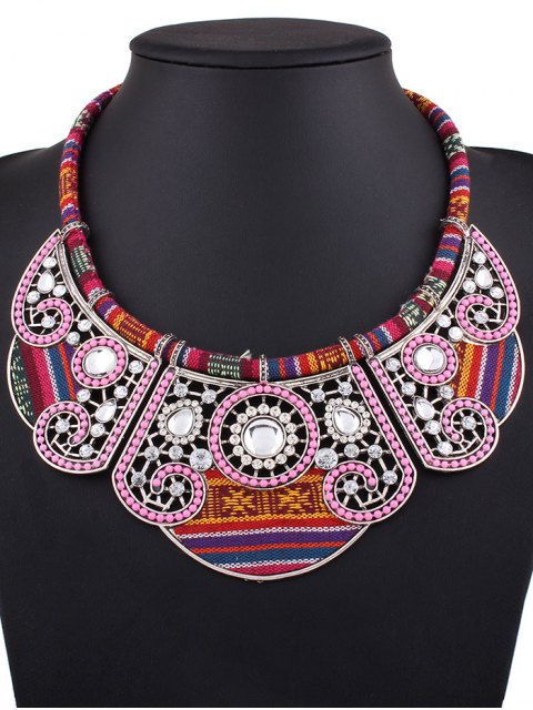 womens Rhinestone Floral Faux Collar Necklace -   Mobile