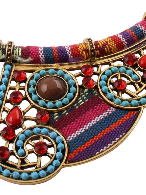 women Rhinestone Blossom Faux Collar Necklace - GOLDEN  Mobile