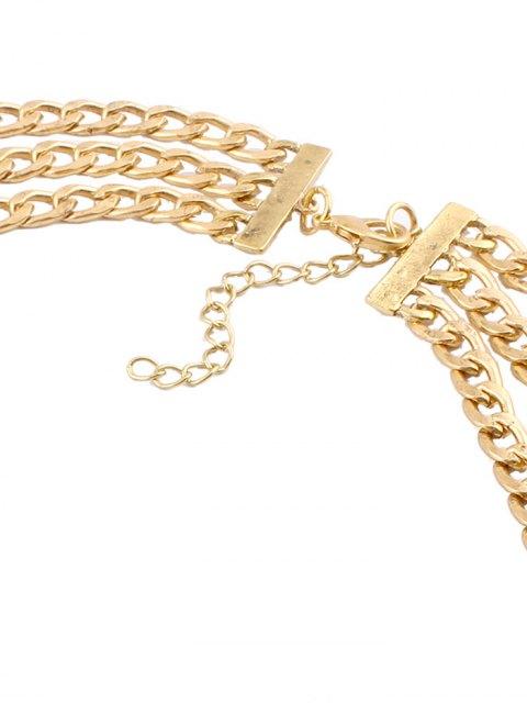 ladies Alloy Rhinestone Geometric Chain Necklace - GOLDEN  Mobile