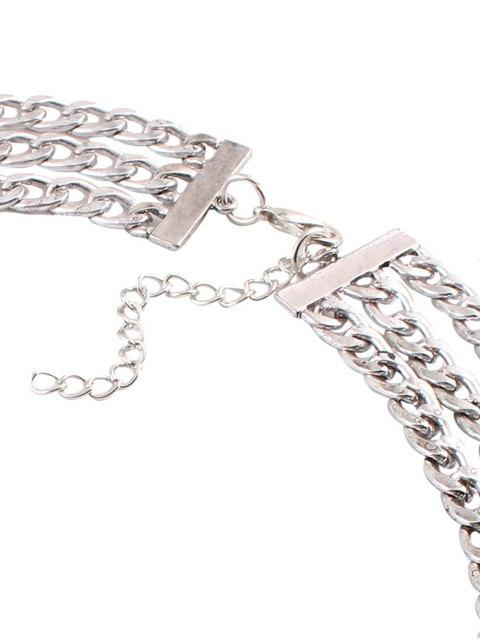 lady Alloy Rhinestone Geometric Chain Necklace - SILVER  Mobile