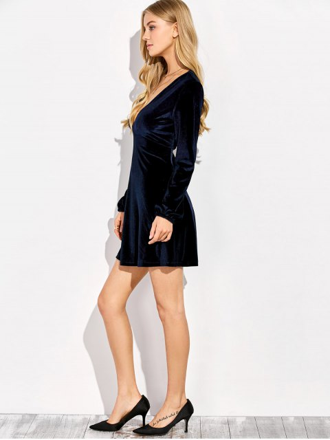 trendy Empire Waist A Line Velvet Dress - PURPLISH BLUE XL Mobile