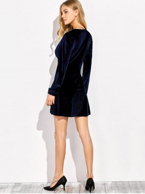 chic Empire Waist A Line Velvet Dress - PURPLISH BLUE M Mobile