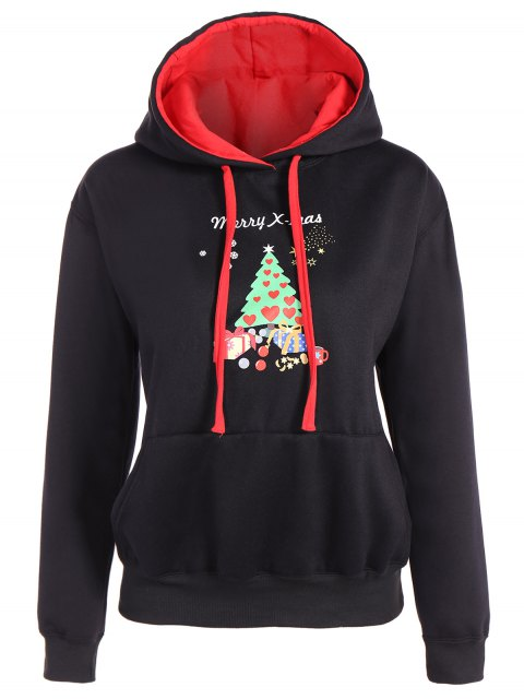womens Merry Christmas Front Pocket Hoodie - BLACK S Mobile