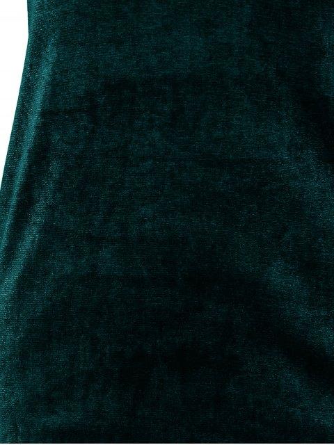 affordable Short Sleeve Velvet Dress - BLACKISH GREEN M Mobile