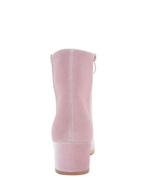 buy Round Toe Zip Chunky Heel Ankle Boots - PINK 39 Mobile