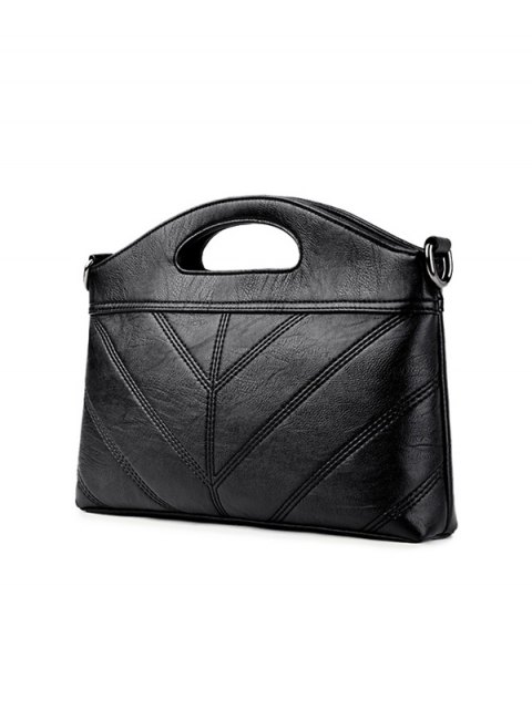 womens Stitching PU Leather Handbag - BLACK  Mobile