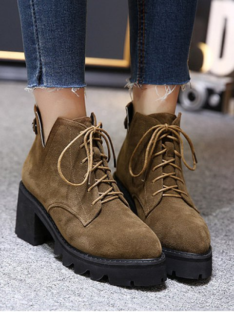 chic Slit Lace Up Chunky Heel Boots - DEEP BROWN 39 Mobile