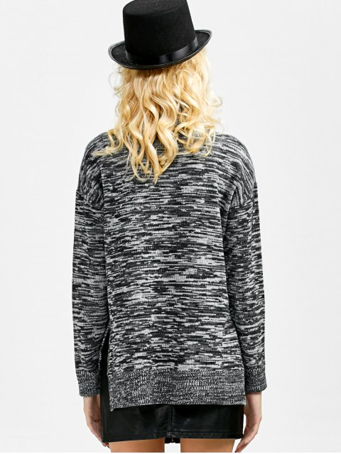 shop Boxy Heathered Turtleneck Sweater - GRAY ONE SIZE Mobile