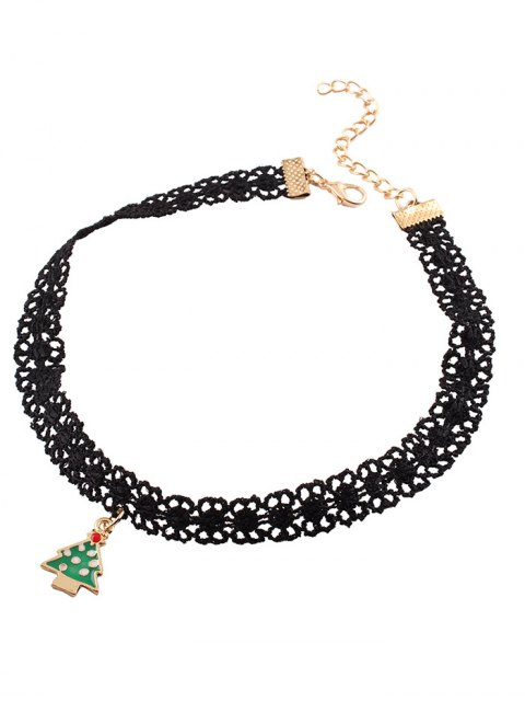 hot Christmas Tree Lace Choker - BLACK  Mobile