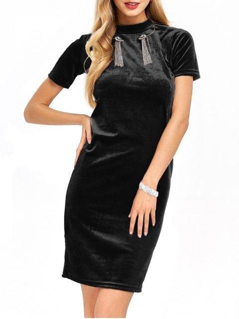 women's Short Sleeve Velvet Dress - BLACK S Mobile