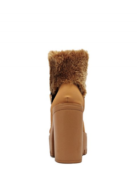 new Faux Fur High Heel Short Boots - LIGHT BROWN 38 Mobile
