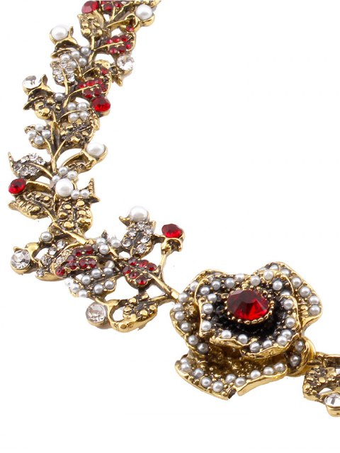 outfit Rhinestone Artificial Pearl Rose Floral Necklace - GOLDEN  Mobile