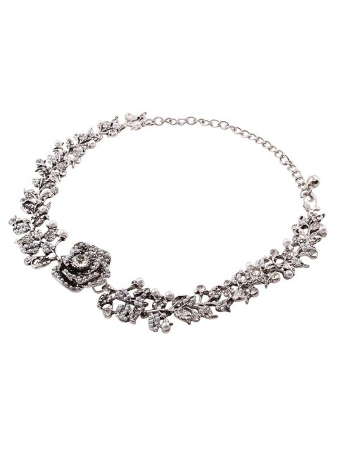 outfits Rhinestone Artificial Pearl Rose Floral Necklace - SILVER  Mobile