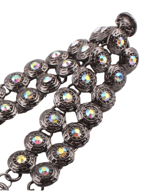 trendy Adorn Rhinestone Circle Necklace - GUN METAL  Mobile