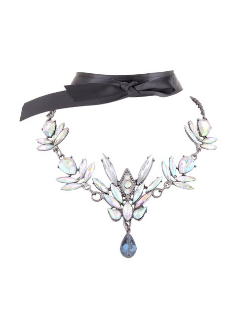 chic Artificial Gem Necklace with Ribbon Choker - WHITE  Mobile