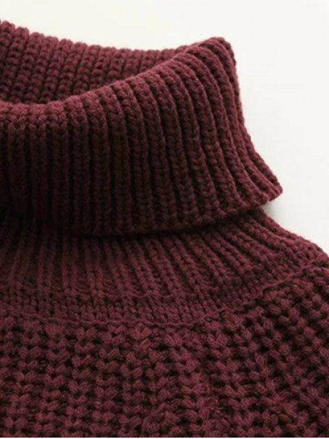 shops Turtleneck Chunky Pullover Sweater - BURGUNDY ONE SIZE Mobile