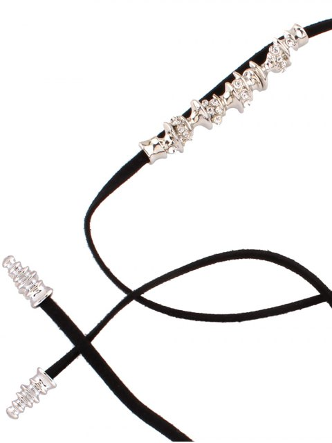 fancy Artificial Leather Rope Rhinestone Choker - BLACK  Mobile