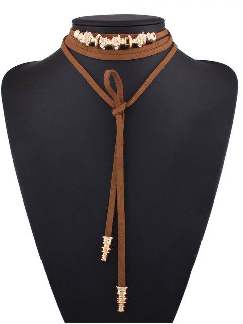 unique Artificial Leather Rope Rhinestone Choker - BROWN  Mobile