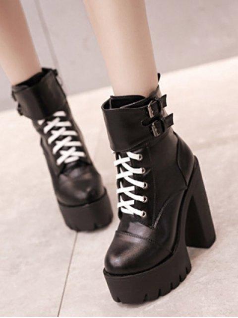 sale Buckle Straps High Heel Boots - BLACK 38 Mobile